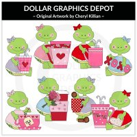 Pretty Turtles - Valentine Cups - Clip Art - *DCS Exclusive*