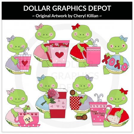 Pretty Turtles - Valentine Cups - Clip Art - *DGD Exclusive*