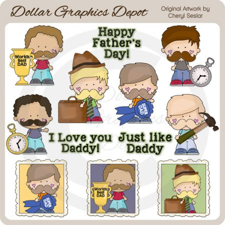 Little Guys - Just Like Daddy - Clip Art