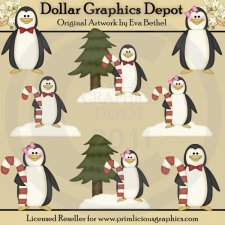 Candy Cane Penguins - Clip Art