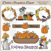 Prim Autumn Blessings - Clip Art