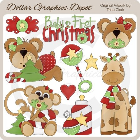 Baby's First Christmas - Girls - Clip Art