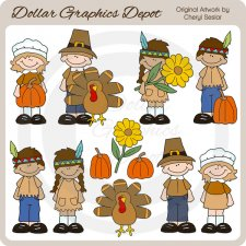 Big Kids - Thanksgiving - Clip Art