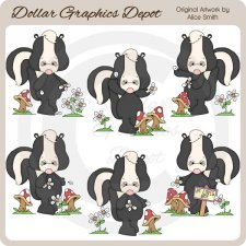 Loves Me...Loves Me Not Skunks - Clip Art - *DGD Exclusive*