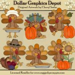 Thanksgiving Turkeys 1 - Clip Art