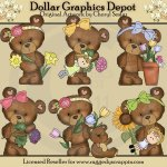 Cloey Bear Loves Flowers - Clip Art