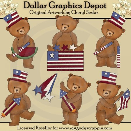 Fourth of July Bears - Clip Art