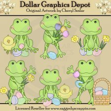 Wee Frogs - Easter - Clip Art