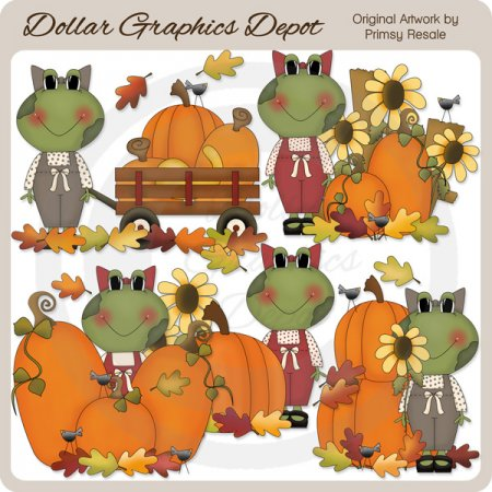 Fall Frogs - Clip Art