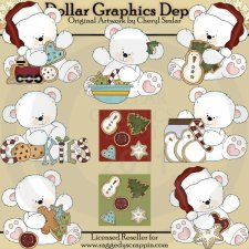 Christmas Cookie Polar Bears - Clip Art