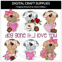 Scruffy Puppy - Valentines - Clip Art