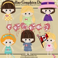 Canadian Dolls - Canada Day - Clip Art