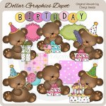 Cutie Bears - Birthday - Clip Art