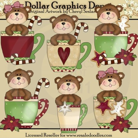 Christmas Bear Cups - Clip Art