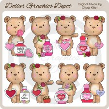 Sweetie Valentine Bears - Clip Art