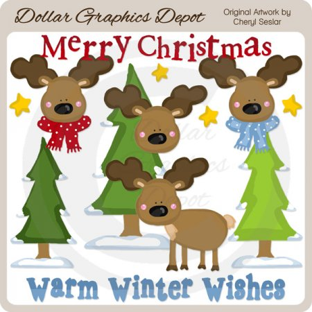 Merry Christmas Moose - Clip Art