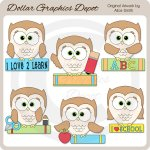 School Owls 1 - Clip Art