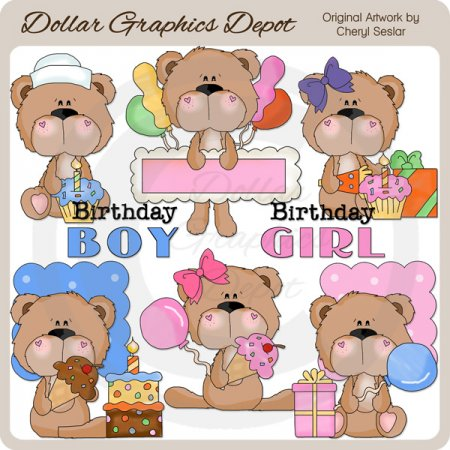 BoBo and Babs Bears Birthday - Clip Art