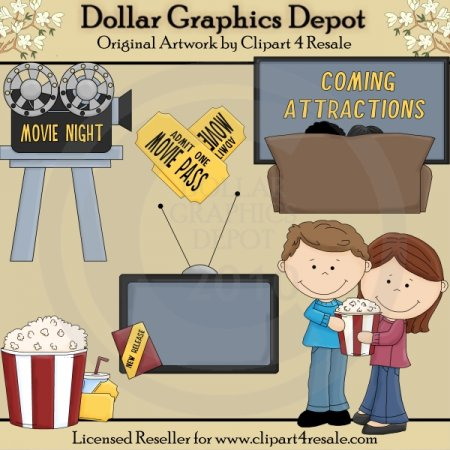 Movie Night - Clip Art - *DGD Exclusive*