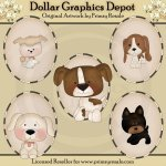 Dogs 2 - Ovals - Clip Art