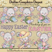 Pinky Mouse - Easter Blessings - Clip Art