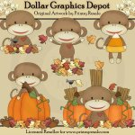 Fall Sock Monkeys - Clip Art