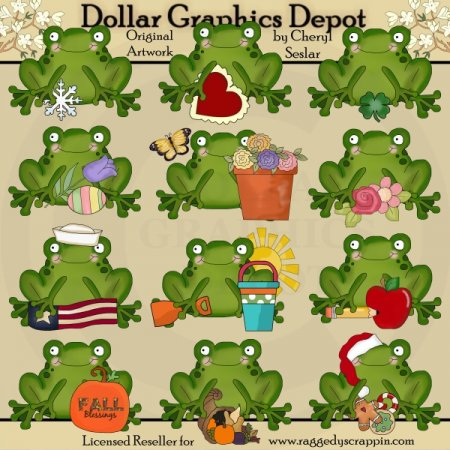 Seasonal Calendar Frogs - Clip Art