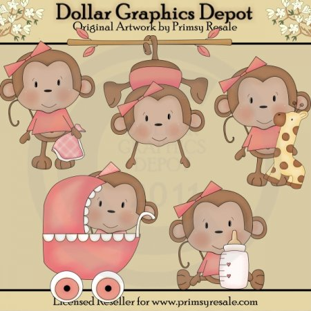 Baby Girl Monkeys - Clip Art