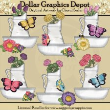 Pretty Butterfly Flower Basins - Clip Art