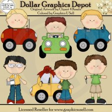 Boys In Cars 1 - Clip Art