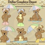 Stuffed Bears - Rainy Day - Clip Art