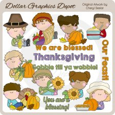 Thanksgiving Kids - Clip Art