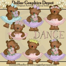 Tattered Teddies - Ballerinas - Clip Art