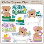 Bath Time Bears - Clip Art