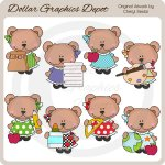 Bella Bear - School - Clip Art