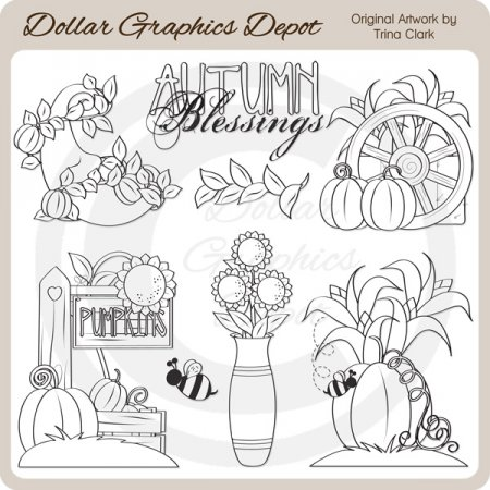 Autumn Blessings - Digital Stamps