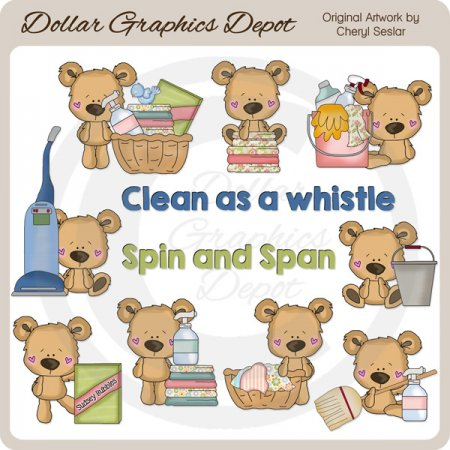 Little Bears - Housekeeper - Clip Art - *DGD Exclusive*