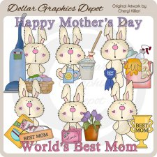 Fuzzy Bunny - Mother's Day - Clip Art - *DGD Exclusive*