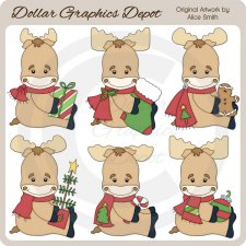Christmas Moose - Clip Art - *DCS Exclusive*