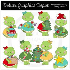 Pretty Turtles Decorate The Tree - Clip Art - *DCS Exclusive*