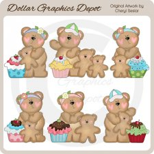 Bear Family Loves Cupcakes - Clip Art