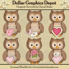 Little Owls - Valentines - Clip Art
