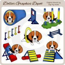 Dog Agility - Beagle - Clip Art