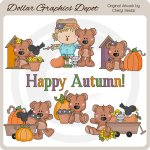 Tubby Bear - Autumn - Clip Art