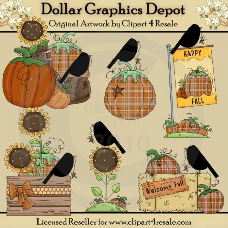 Stitched Fall Welcome - Clip Art