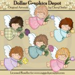 Tiny Angels Love Flowers - Clip Art