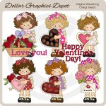 Little Valentine Girls - Clip Art - *DGD Exclusive*
