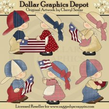 Country Kids - Fourth of July - Clip Art