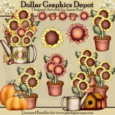 Fall Sunflowers - Clip Art