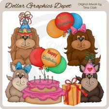Birthday Doggies - Clip Art